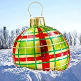 Giant Christmas Orderment - Giant Christmas Blow Up Balls Ornaments, 24inch PVC Inflatable Decorated Christmas Balls with Pump - Holiday Outdoor Yard Christmas Inflatables Decorations