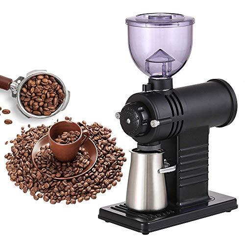 電気コーヒーグラインダープロフェッショナルコーヒービーンパウダーグラインディングマシンゴーストトゥースコーヒーグラインダーミル、10の正確なグラインド設定、ブラック