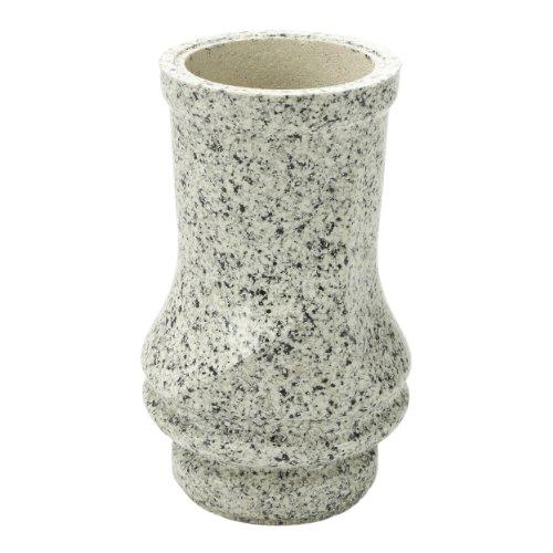 Vaso per tomba Pinus resina sintetica finto granito strie Gau 18x 27cm