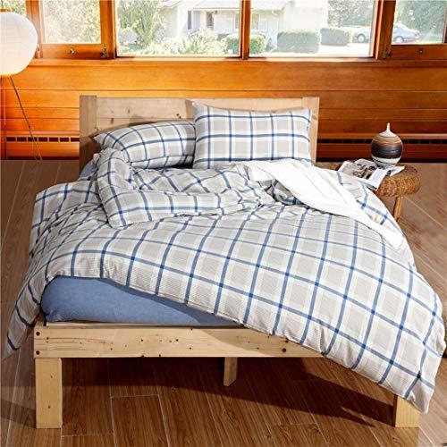 Teyun. Dreiteilige Bett Cotton Set Naked Bettbezug for Home Furnishing (Color : Blue, Size : 150CM)