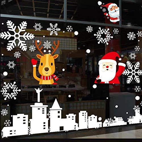 Kaishuai-Pegatinas Navidad para Ventanas,Copo de Nieve Navidad,Espejo pegatina Vinilo para ventanas,Pegatinas de navidad adornos navideños