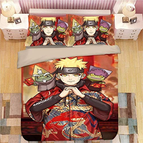 WMZ-SC Bettbezug Naruto Anime-Muster Jugendbettwäsche superfeine Faser Inklusive Kissenbezug 50 * 75/80 * 80cm (9,135x200cm)