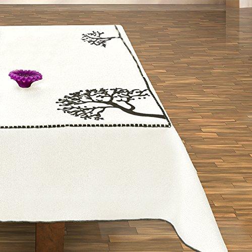 40x90 cm wit zwart tafelkleed tafelkleed tafelloper boommotief boom bomen geborduurd elegant praktisch onderhoudsvriendelijk linnenlook met boord modern 2045