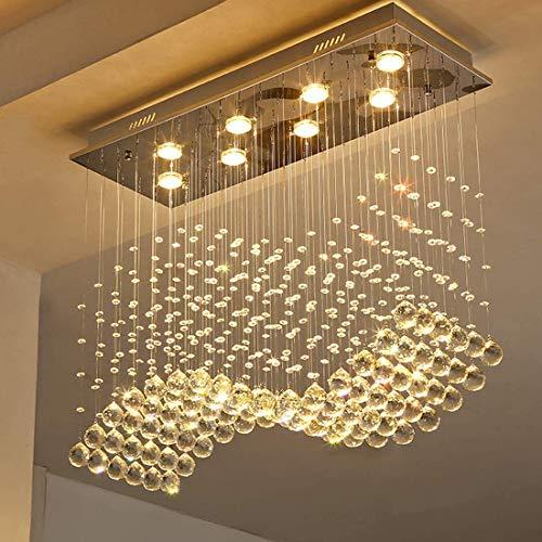 SILJOY Rectangular Raindrop Crystal Chandelier Modern Wave Raindrop Pendant Flush Mount Ceiling Light Fixture for Dining Room Length 31.5 Inch