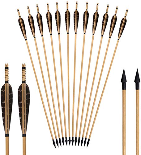 PMSM Holzpfeile für Bogenschießen Recurvebogen, Langbogen und traditionellen Bogen Mit 5 Zoll Naturfedern Holzpfeile in Handarbeit
