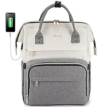 LOVEVOOK Laptop Backpack for Women Fashion Business Computer Backpacks Travel Bags Purse Student Bookbag Teacher Doctor Nurse Work Backpack with USB Port Fits 15.6-Inch Laptop Beige Grey