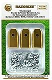 RAZORIZE 30x Cuchillas de repuesto de titanio (TiN) para robots cortacéspedes Gardena y Husqvarna Automower. Versión robusta con tornillos (3,1 g/0,75 mm). 30 piezas.