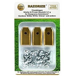 RAZORIZE® 30x Cuchillas de repuesto de titanio (TiN) para robots cortacéspedes Gardena y Husqvarna Automower. Versión robusta con tornillos (3,1 g/0,75 mm). 30 piezas.
