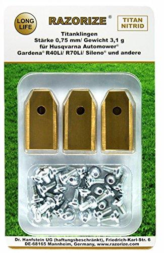 RAZORIZE® 18x Longlife Titanium reservemessen messen messen voor alle Husqvarna/Gardena/Yardforce/McCulloch robotmaaier/Automower, 3,1 g/0,75 mm, met schroeven, 18 stuks