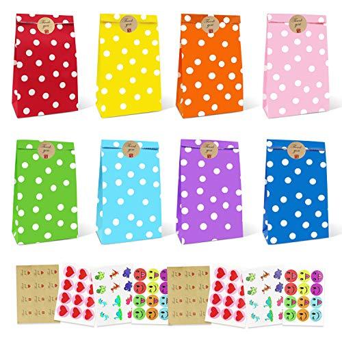 ausyde Papiertüten, Papier Candy Tüten 48 Stück Bunte Geschenktüten mit 96 Aufkleber Candy Tüten zum Verpacken von Geschenken, Kindergeburtstag, Giveaways, Hochzeit, Party, usw (Dots)