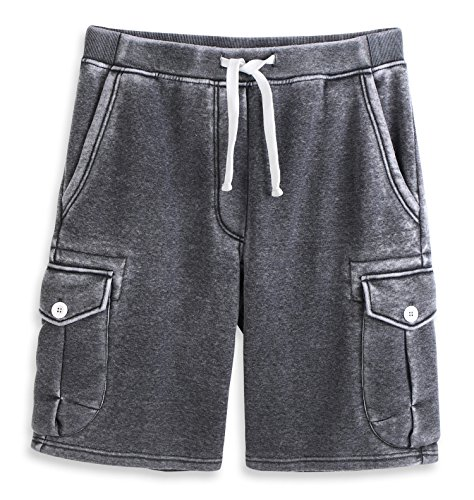HARBETH Men's Classic-Fit 5-Pockets Cargo Short Cotton Elastic Fleece Gym Shorts Burnout Gray XL