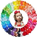 JOYOYO 30 lazos grandes para el pelo para niñas de 15,24 cm, lazos de grogrén, lazos para el pelo para niñas con pinzas de cocodrilo, lazos para manualidades, accesorios para el pelo para niños
