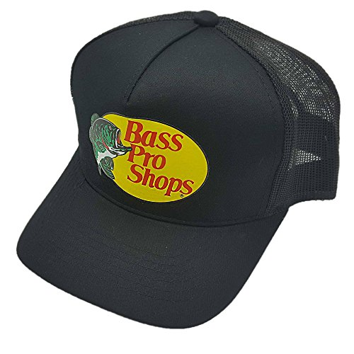 Bass Pro Shop Men's Trucker Hat Mesh Cap - One Size Fits All Snapback Closure - Great for Hunting & Fishing (Black)