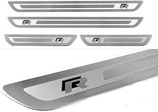4 Stks met Logo Rvs Kick Platen Auto Instaplijsten Protector, voor Volkswagen Vw GOLF 6 7 GTI R-line Jetta Polo T-roc R To...