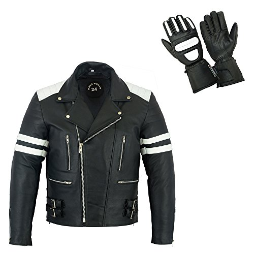 MAGS World24 Protektoren Jacke, Lederjacke, schwarz weiß, Motorradjacke mit herausnehmberen Protektoren, Bikerjacke, 80`s Old School Rockabilly Jacke mit passenden Leder Thermo Handschuhen