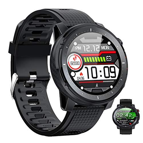 APCHY Smart Watch,Actividades Rastreadores De ECG De Ritmo Cardíaco Monitoreo De Presión Arterial Monitoreo Multi-Dial Multi-Function Deportes IP68 Reloj Deportivo Impermeable,Negro