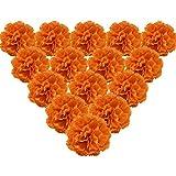 Martine Mall 50Pcs Marigold Flower Heads Bulk Silk Carnation Flowers, Artificial Flowers Carnation Heads with Stems Artificial Chrysanthemum Carnation Bouquets for Home, Wedding, Banquet Decor, Orange
