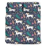 STELULI Juego de cama de 4 piezas con diseño de unicornio arcoíris de microfibra supersuave, sábana blanca de 228 x 264 cm