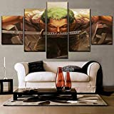 One Set 5 piezas Anime One Piece Swordsmen Zoro Roronoa pintura lienzo impreso cuadro modular arte de pared decoración del hogar dormitorio 40x22 pulgadas