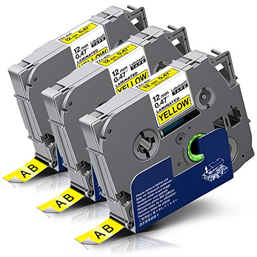 3x Labelwell 0.47 12mm x 8m Sostituzione Nastro Compatibile per Brother Tz Tze-631 Tze631 Tz631 Nero su Giallo per Brother P-Touch GL-H100 PT H100LB PTH101C PTP700 PTE100 PTD600VP D400VP PTD400 P950NW