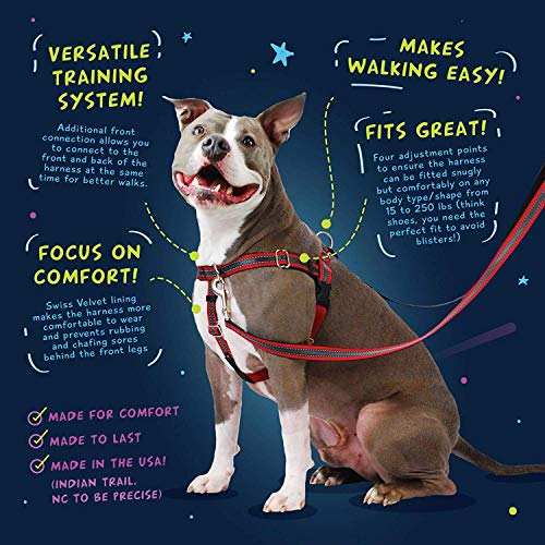 """2 Hounds Design Freedom No-Pull Dog Harness Only (Leash Sold Separately), Adjustable Comfortable Control for Dog Walking, Made in USA (Medium 1"""") (Red)"""