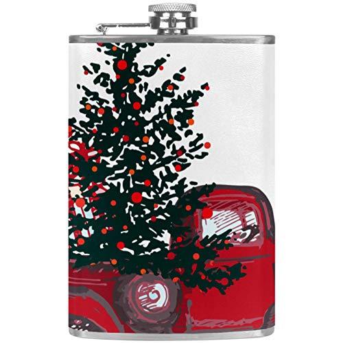 Edelstahl-Flachmann, 237 ml, für Likör, mit Trichter, Weihnachtsbaum, Rot