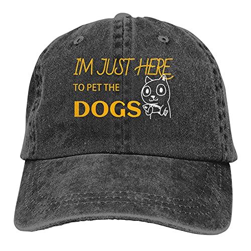 Jopath - Berretto da baseball da uomo/donna, con scritta 'I'm just here to pet the dog', in cotone, regolabile, alla moda, stile retrò, colore nero