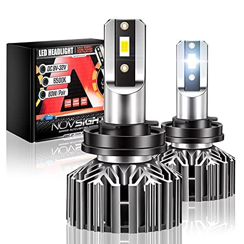 NOVSIGHT H11/H8/H9 Headlight Bulbs, 12000 Lumens 60W Super Bright LED Headlights Conversion Kit, 6500K Cool White Pack of 2, Fog Light