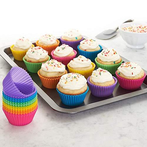 WENTS Cupcake Förmchen - 24 Wiederverwendbare Muffinförmchen von 6 Farben aus hochwertigem Silikon umweltschonende Cupcake Formen Muffinform Backform Cupcakeförmchen Silikon Muffin Förmchen