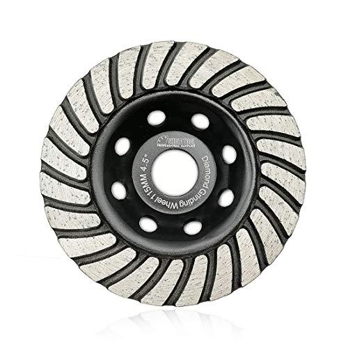 SHDIATOOL 4-1/2 Inch Turbo Row Diamond Grinding Cup Wheel for Concrete Granite Marble Masonry Brick Fits 7/8 Inch Arbor