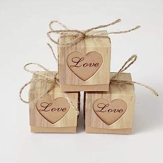 Cajas de Regalo para Boda,50 Piezas Dulces Bombones De Dulces con Corazón y Yute