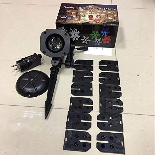 Proyector de jardín 12 piezas Patrones de Navidad IP44 Impermeable Proyector navideño Navidad al aire libre Paisaje Luz nocturna 3D LED Lámpara de mesa niños regalo de cumpleaños decoración de la ha