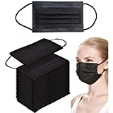 4ply Black Disposable Face Mask- Black Face Mask with Activated Carbon Disposable Face Masks Black Masks Breathable Masks for Women, Men and Kids and Office Supplies (4ply) (Black 50pcs)