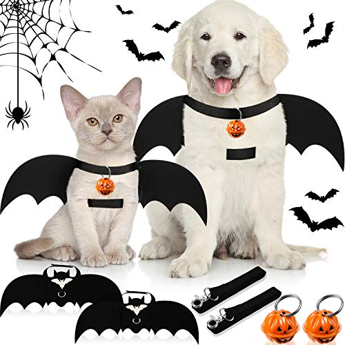 Syhood Juego de 6 Piezas Alas de Murciélago de Perro Incluye Campana de Calabaza de Halloween Disfraz de Perro Murciélago de Halloween y Correa de Perro para Decoración Disfraz Perro Grande Medianos