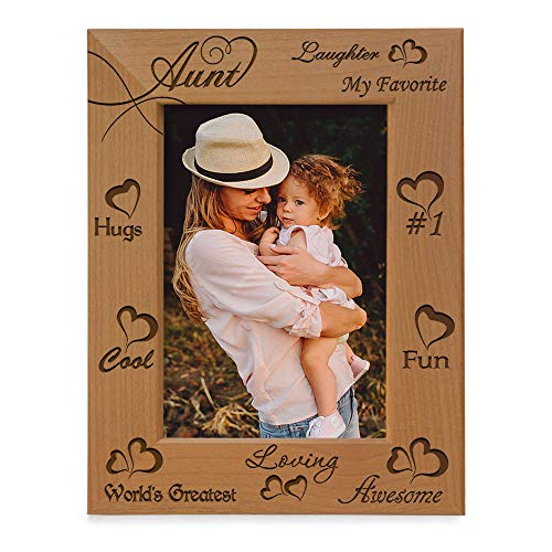 KATE POSH - My Awesome, Cool, Favorite, Loving, 1 Aunt - Engraved Natural Photo Frame - I Love My Aunt Picture Frame - Aunt Gifts - Aunt Gifts for Mother's Day (4x6 Vertical)