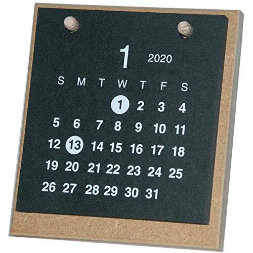 【2020年版】卓上カレンダー 1月始まり クラフト MDF ブラック