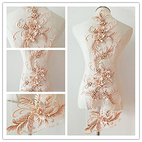3D Beaded Flower Sequence lace Applique Motif Sewing Bridal Wedding 3in1 20cmx72cm (Peach)
