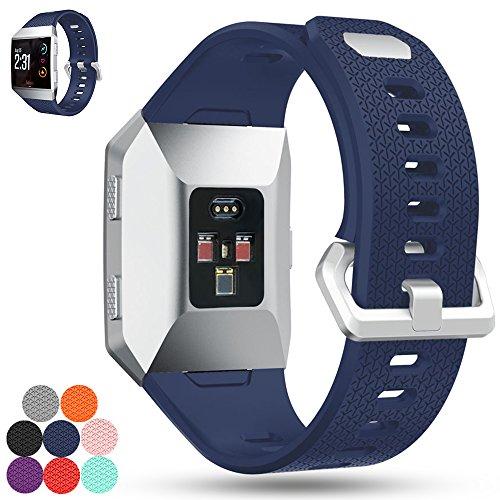 Correa de repuesto para Fitbit Ionic iFeeker, correa de silicona suave, correa de silicona para reloj inteligente Fitbit Ionic, color azul oscuro
