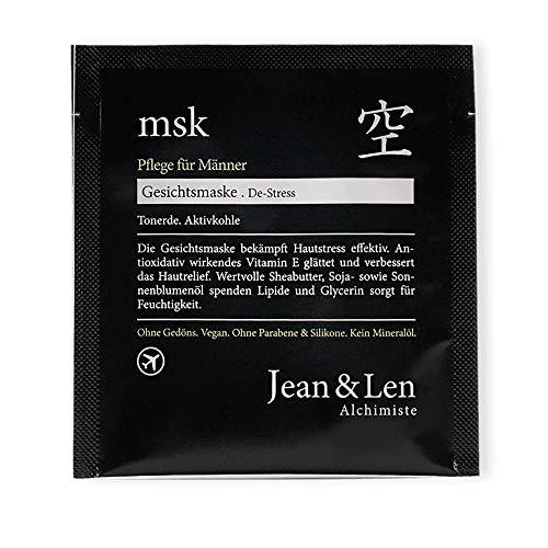 Jean & Len Gezichtsmasker voor heren, de-stress, antioxidatief werkende vitamine E maakt glad en verbetert de huidreliëf, 6 stuks