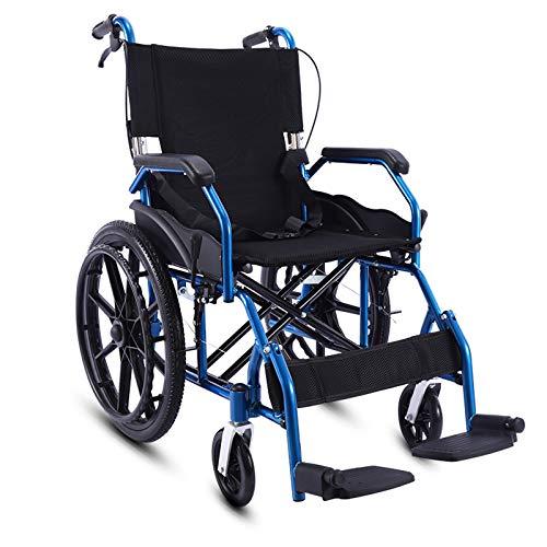 LGQ Silla de Ruedas, Silla de Ruedas Plegable, reposapiés, reposabrazos, Estructura Azul con Asiento Negro, para Personas Mayores y discapacitadas, Ancho del Asiento 45 cm,
