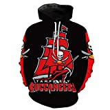 ATI-HSKJ Shirt À Capuche Homme Pull Football Américain Tops Formation Football Américain Union Jersey Tampa Bay Buccaneers Rugby Équipe Sweatshirt À Capuche,XL