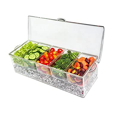 Ice Chilled 5 Compartment Condiment Server Caddy- Serving Tray Container with 5 Removable Dishes with over 2 Cup Capacity Each and Hinged Lid (Five Compartment Condiment Server)