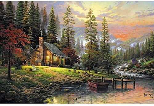 NSHUN Puzzle de Madera, Pintura del Paisaje Animado de descompresión Juguetes educativos Pórtico Decorativo, Thomas-otoño, Color: 1000pieces