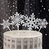 GEROLD 16pcs Snowflake Cake Topper Acrylic Cake Picks Cupcake topper Winter Frozen Decoration