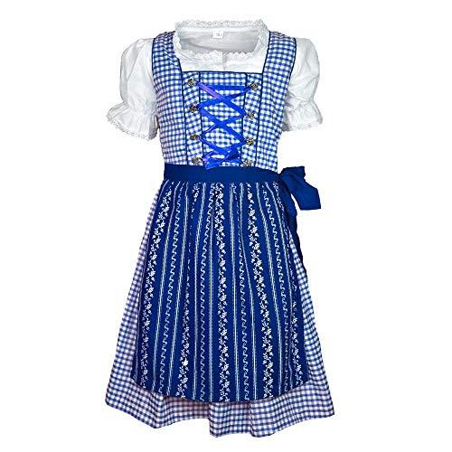 MS-Trachten Kinder Dirndl Trachtenkleid Klara 3 teilig (blau, 128)