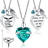Jadive 3 Pieces Heart Ashes Urn Necklace Crystal Cremation Ashes Jewelry Stainless Steel Heart Memorial Pendant Stainless Steel Keepsake Heart Shape Cremation Urn for Friends Families
