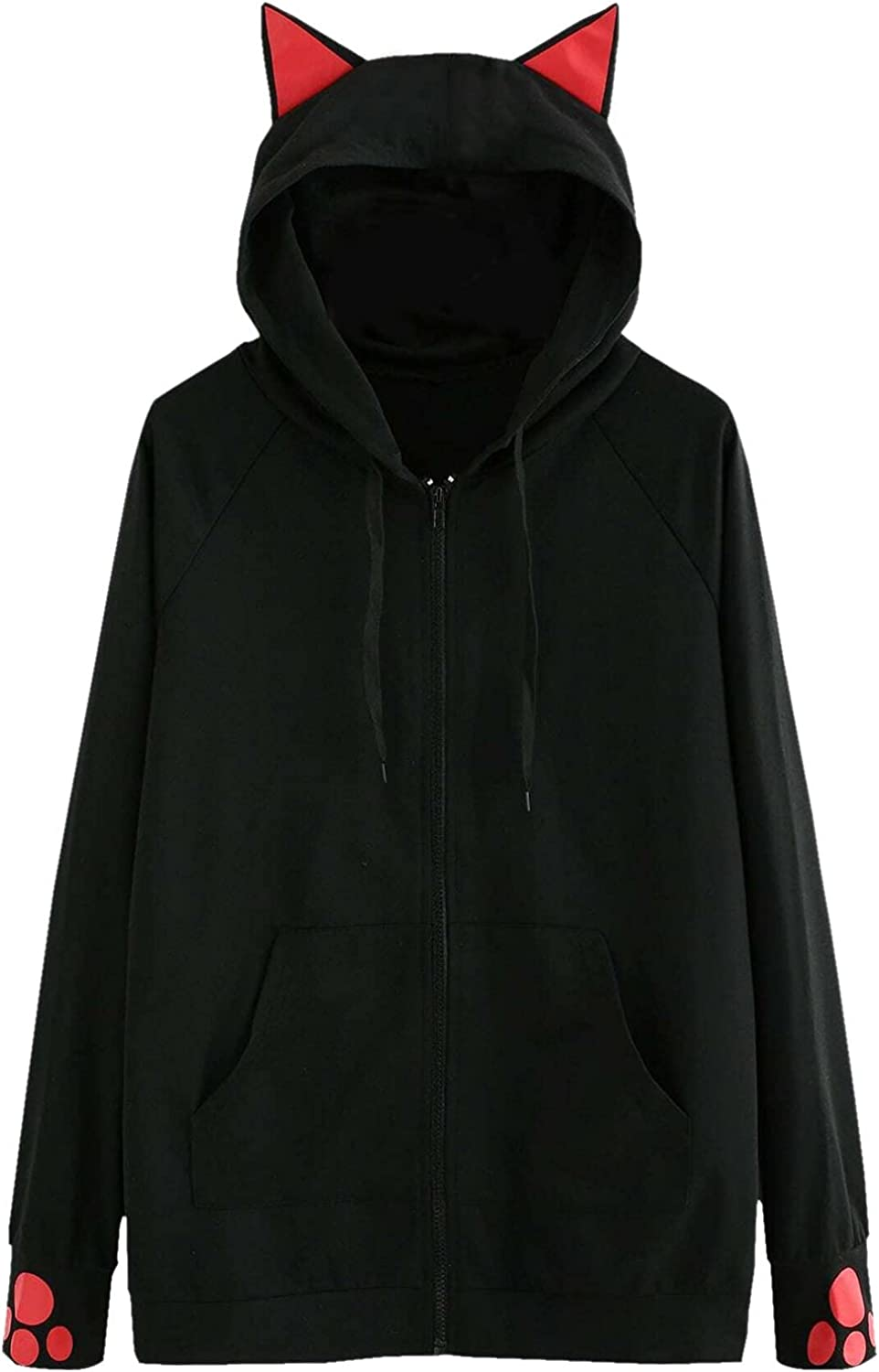 HONGJ Cat Ear Hoodies for Womens, Fall Cute Cat Paw Zipper Fashion Drawstring Pullover Hooded Sweatshirts with Pockets On Clea-rance Under 10 Dollars Sexy Fit Plus Size Elastic Stretchy Petite Wrap