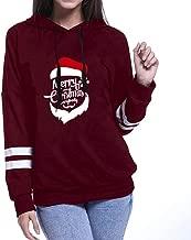 QIQIU Tops Womens Christmas Stripe Print Long Sleeve Hoodie Santa Claus Sweatershirt Sweater Loose Blouses