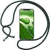 Funda con Cuerda para Xiaomi Mi MAX 3, Carcasa Transparente TPU Suave Silicona Correa Colgante Ajustable Collar Correa de Cuello Cadena Cordón - Verde Oscuro