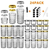 Mason Jars Canning Jars, 24 Pack Jelly Jars With Regular Lids, Ideal for Jam, Honey, Wedding Favors,...